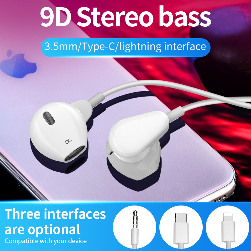 Wired Earphone With 3.5MM  Type C For Iphone Lightning Plug Earbuds Sports Running Headset Super 4D Stereo Bass For Xiaomi