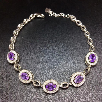 Natural amethyst gem Bracelet Natural purple crystal Elegant Classical round Bracelet S925 bracelet women wedding fine Jewelery фото