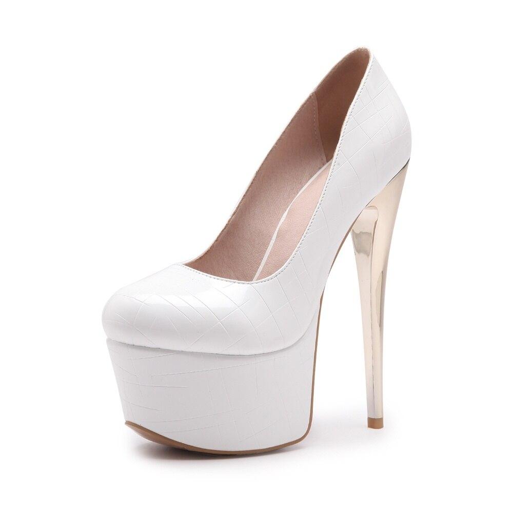 Redonda Altos Del Nueva Grande Bombas Tacones Plataforma Mujeres rosado Moda Pie Stiletto blanco Negro 34 Memunia 46 Zapatos Dedo Boda Tamaño gris Sólido Sexy qOaIIw6