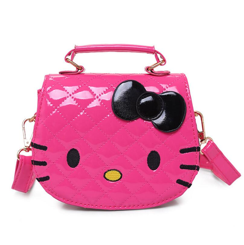5dc707dbbd80 Hot Fashion Hello Kitty Bow Messenger Bag For Girls PU Leather Crossbody  Shoulder Bag Handbags Flap Bags High Quality-in Top-Handle Bags from  Luggage   Bags ...