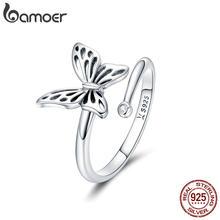 dfdf53e02469 BAMOER auténtica Plata de Ley 925 Vintage mariposa ajustable anillos para  las mujeres de la boda