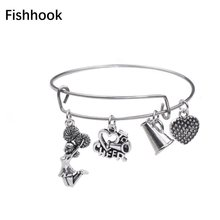 Fishhook Stainless Steel Wire Bangle For Women Love To Cheer & Cheerleading Girl & Megaphone Charm Bracelet Fashion Jewelry Gift(China)