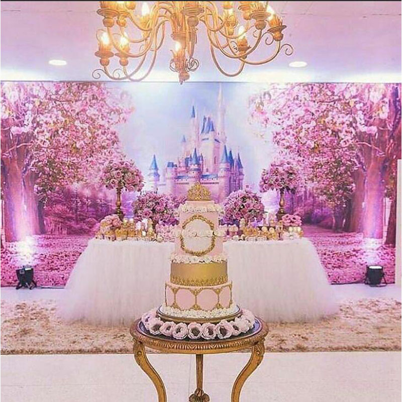 Image 4 - Cherry Pink Flowers Spring Photography Backdrop Rainbow Fairy tale Castle baby shower Children Princess Photo Background S 2711-in Background from Consumer Electronics