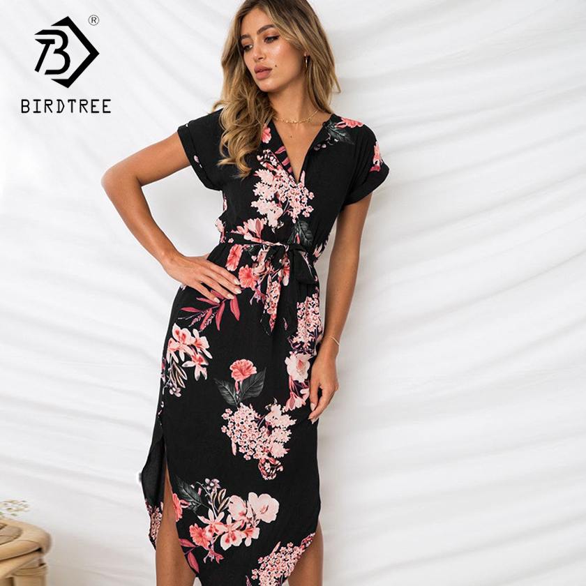 2018 New Arrival Summer Dresses Casual V-Neck Elegance Short Sleeve Floral Print With Sash Plus Size 3XL Women Clothing D87303L 2
