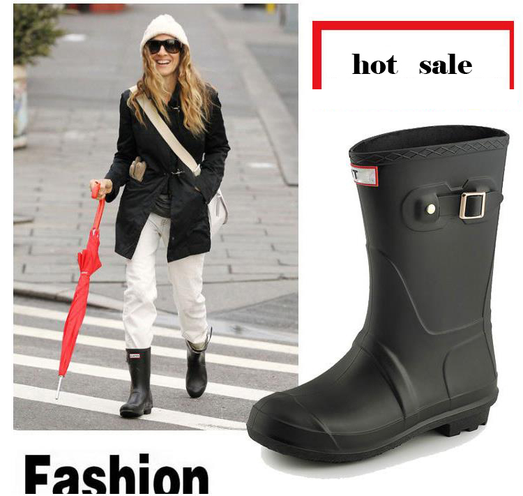 Womens fashion mid calf wellington rubber rain boots for women цена 2017
