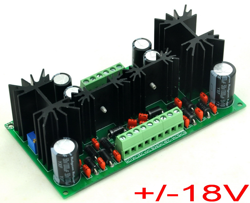 Ultra-low Noise Adjustable +/-18V DC Voltage Regulator Module, LT1963A LT3015.