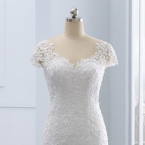 Image 5 - 2020 Vestidos de noiva kısa Backless dantel düğün elbisesi es Mermaid aplikler İnciler beyaz gelinlikler artı boyutu düğün elbisesi