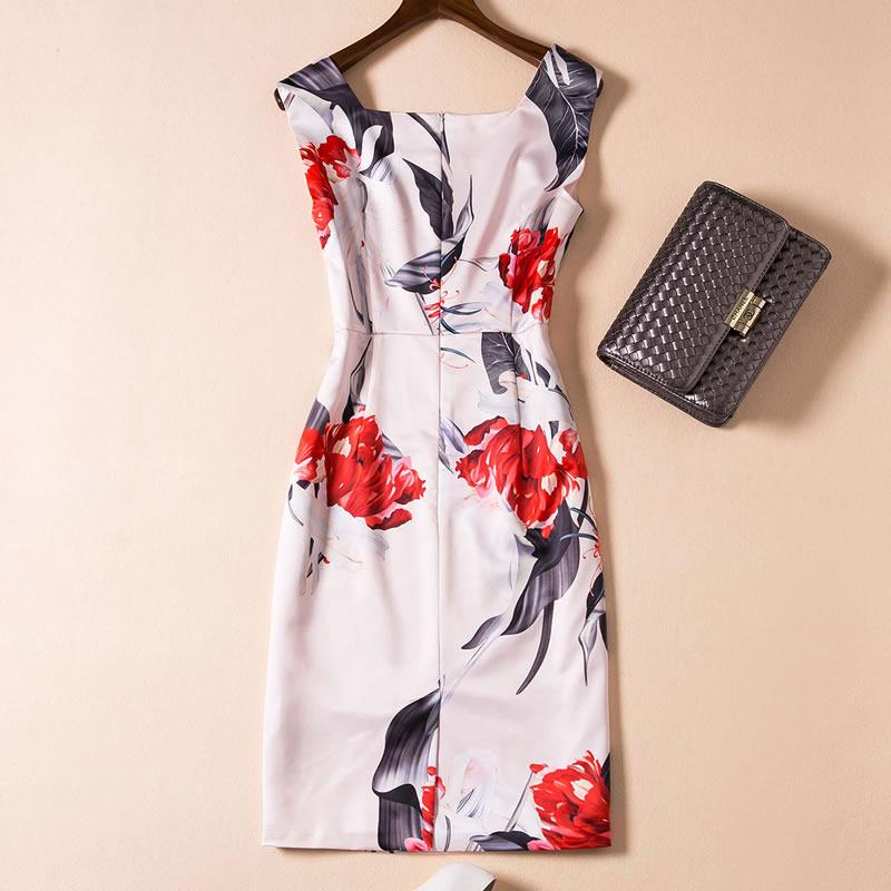 Kragenrmellose Kleidung Kleid Mini ssige Multi L Blumenmuster Quadrat Frauen D0404 A3jL54Rq