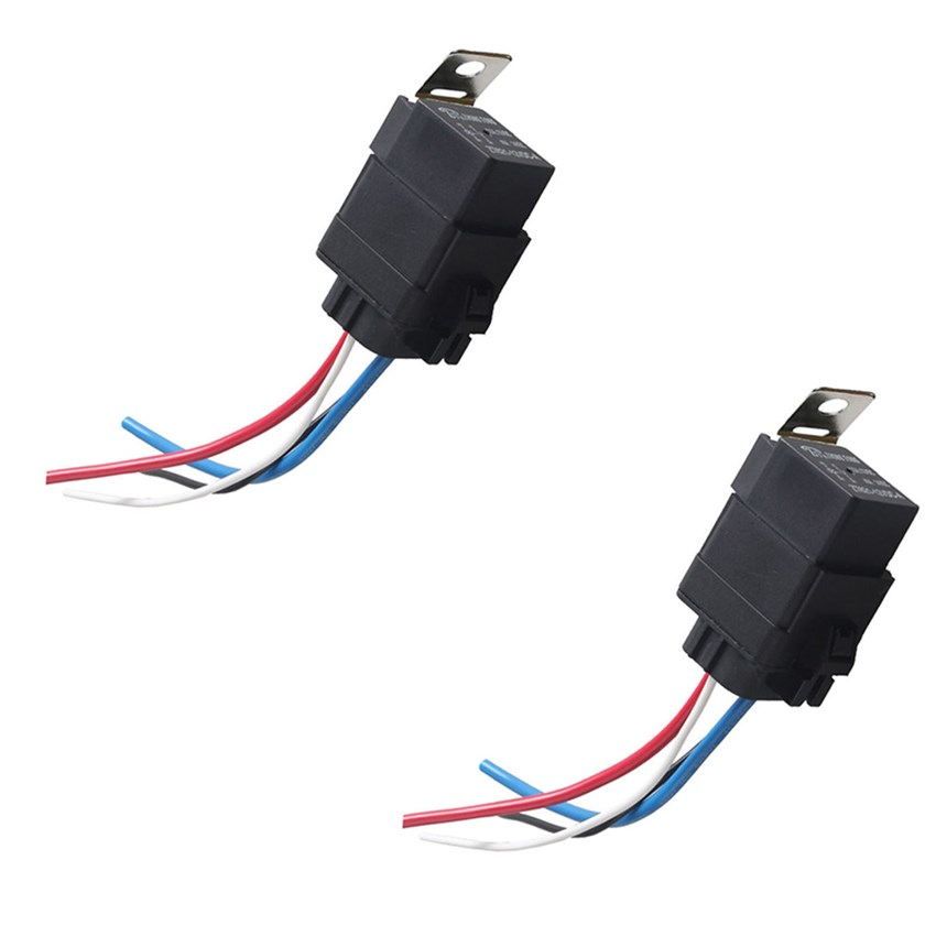 DC 12V 40A SPST 4 Pin Automotive Car Relay with 4 Wires Harness Socket 2pcs