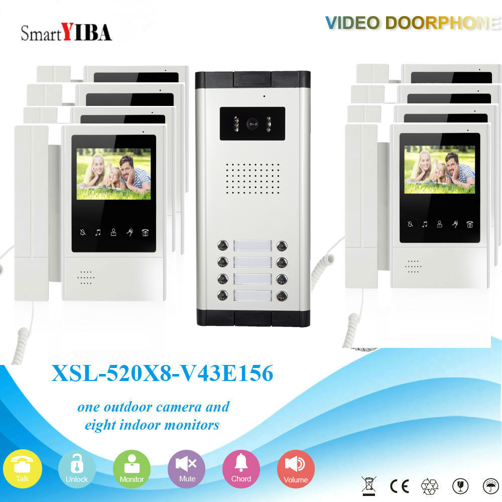 SmartYIBA 4.3 Inch Touch Screen Handheld Video Intercoms For Private Homes 8 Units Apartments Video Door Phone Night Vision