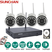 SUNCHAN 4CH Wireless 1 3MP Array LED Camera Kit 960P HDMI P2P NVR WIFI IP Camera