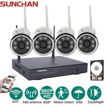 SUNCHAN 4CH Wireless 1.3MP Array LED Camera Kit 960P HDMI P2P NVR WIFI IP Camera Outdoor Waterproof Network NVR CCTV System 1TB
