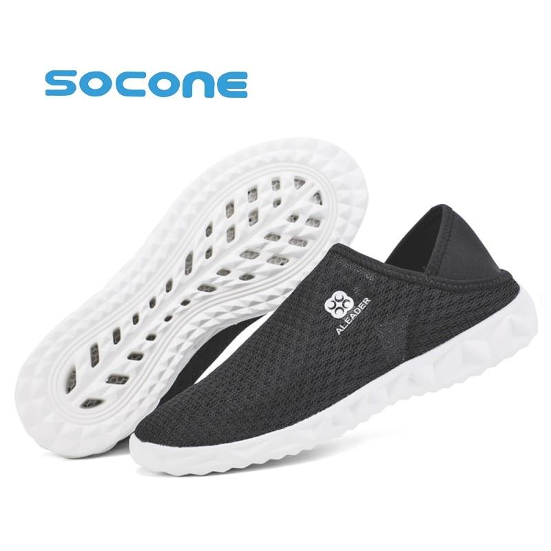 SOCONE Men Women Beach & Outdoor Sandals Breathable Summer Slip On Flat Slipper Lightweight Multifunctional Moccasins Shoes