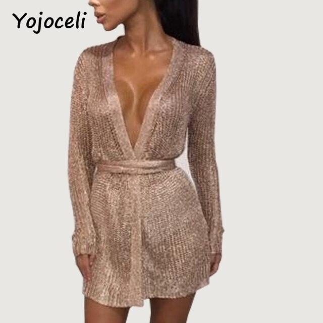 968106a2f Yojoceli sexy brilho da festa de malha cardigan vestido decote em v  profundo bodycon vestido rosa