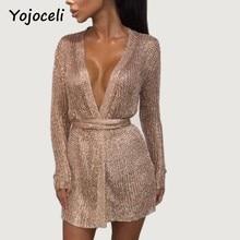 0fa5ce540b2 Yojoceli sexy party shine knitted cardigan dress deep v neck bodycon rose  gold dress spring bow
