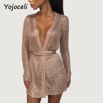 Yojoceli sexy party shine knitted cardigan dress deep v neck bodycon rose gold dress spring bow wrap very mini short dress