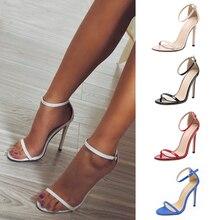 Новые летние женские туфли-лодочки на высоком каблуке; удобная женская обувь; женские босоножки с пряжкой; пикантная обувь для вечеринок; женская обувь на каблуке; большой размер 43