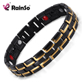 Good Sale Fashion Rainso Brand 3 Health Care Elements Stainless Steel Classic Black&Gold Magnetic Bracelet For Men OSB-086-01BG