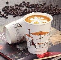 Copos de papel descartáveis de 12oz 400ml  copos grossos de suco  leite  chá  bebidas quentes de café com tampa
