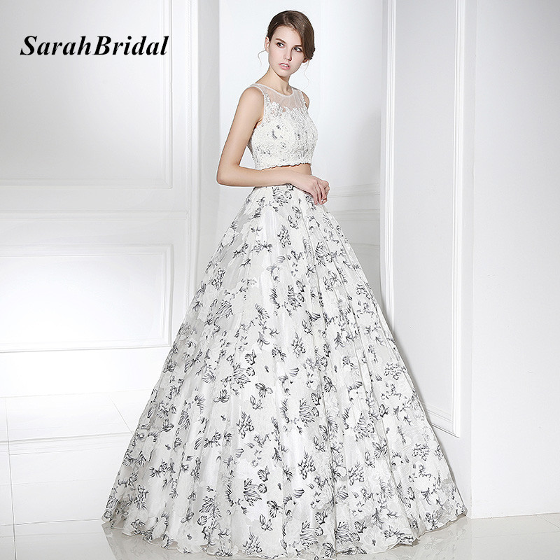 f40ce58e037 SarahBridal Lace Beaded Top 2 Piece Prom Dresses with Floral Print Organza  Skirt Long Elegant Plus