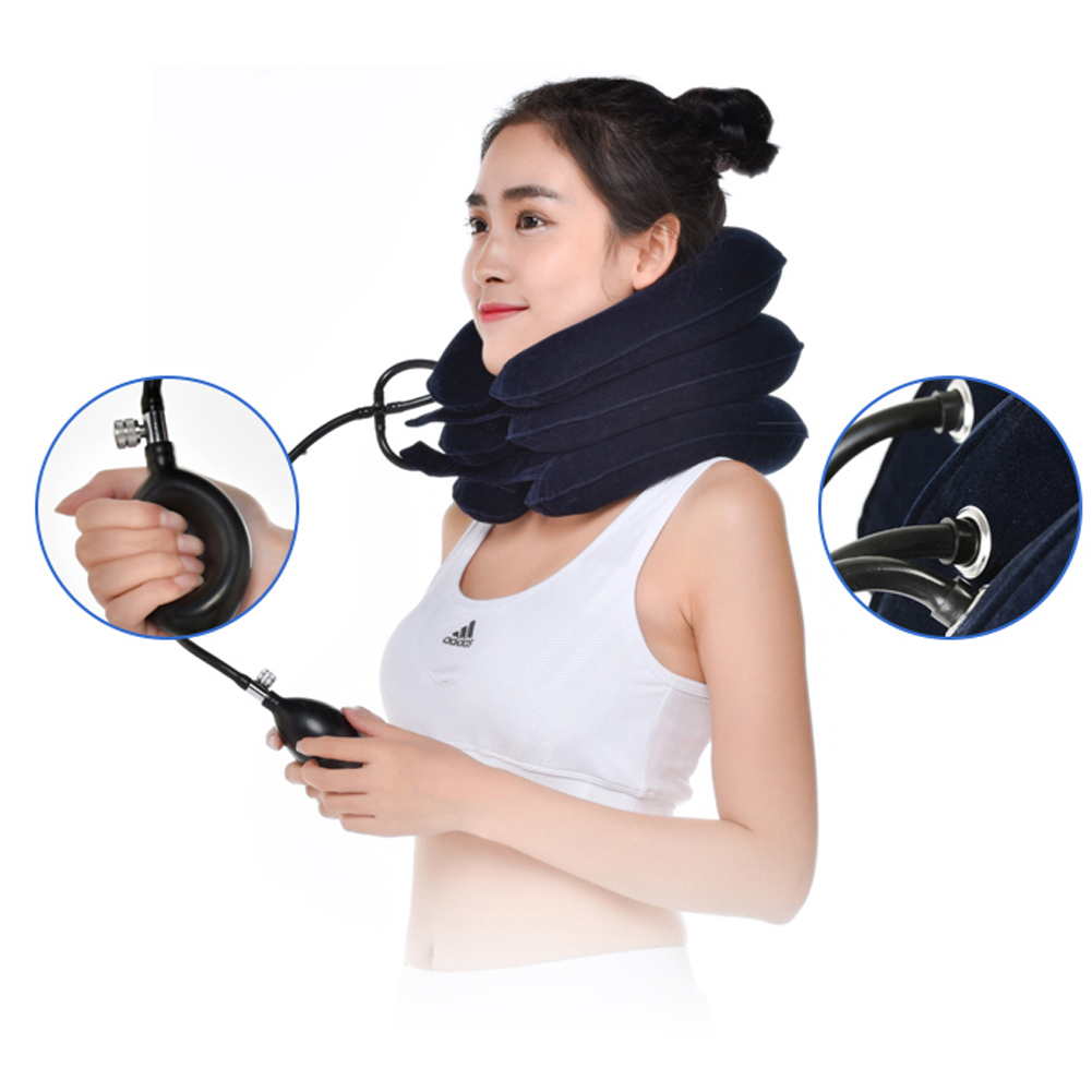 Air Inflatable <font><b>Pillow</b></font> Cervical Neck Head Pain Traction Support Soft Brace Device for Head Back Shoulder Neck Pain Health Care