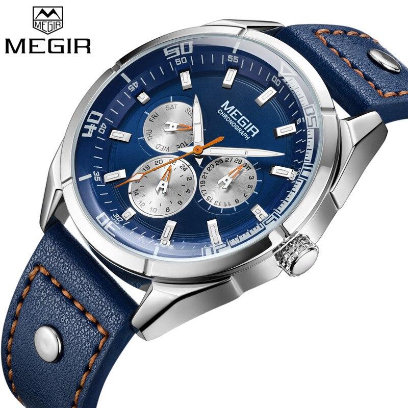 100% QualitäT Megir Männer Uhr Top Luxus Marke Kalender Woche Herren Uhren Militär Sport Armee Lederband Klassische Quarz Männlichen Uhr Box 2072