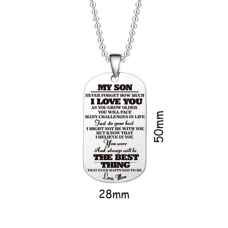 כדי שלי בן בת שרשראות אני רוצה שתאמין אהבת אבא אמא כלב תג תליון משפחה צבאי שרשרת נירוסטה תכשיטי פלדה