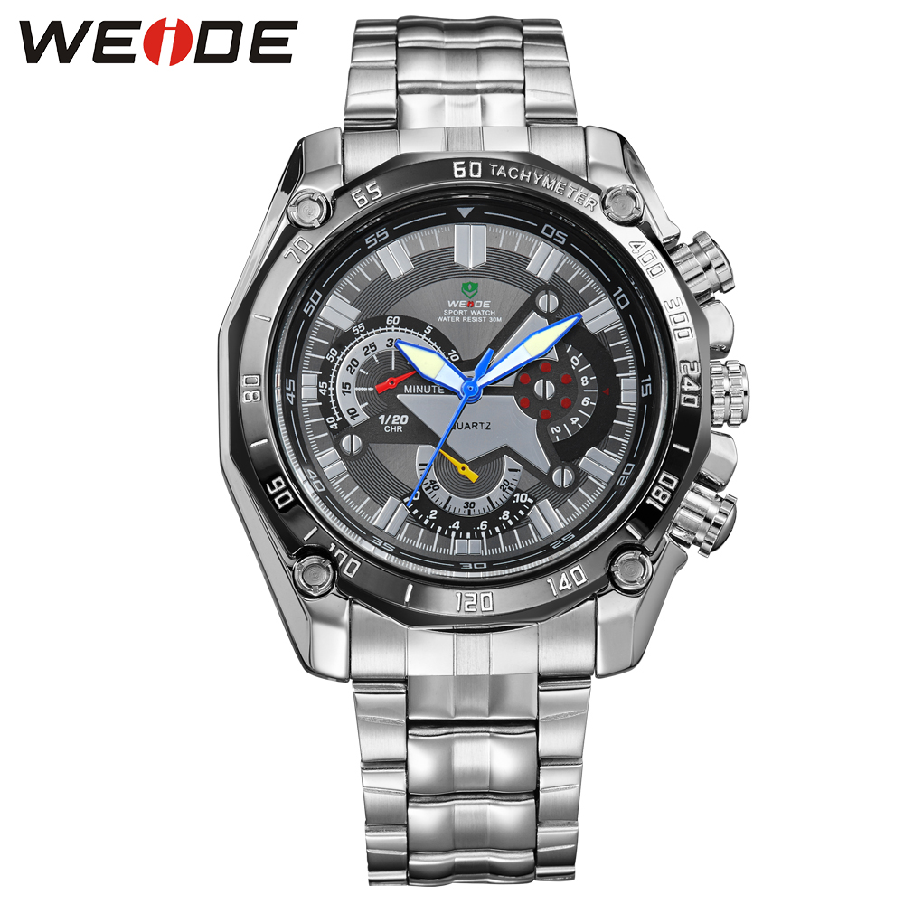 Hot Sale WEIDE Men Sport Watches Analog Display Quartz Movement 30m Waterproof Stainless Steel Strap 2 Buttons For Decoration weide brand irregular man sport watches water resistance quartz analog digital display stainless steel running watches for men