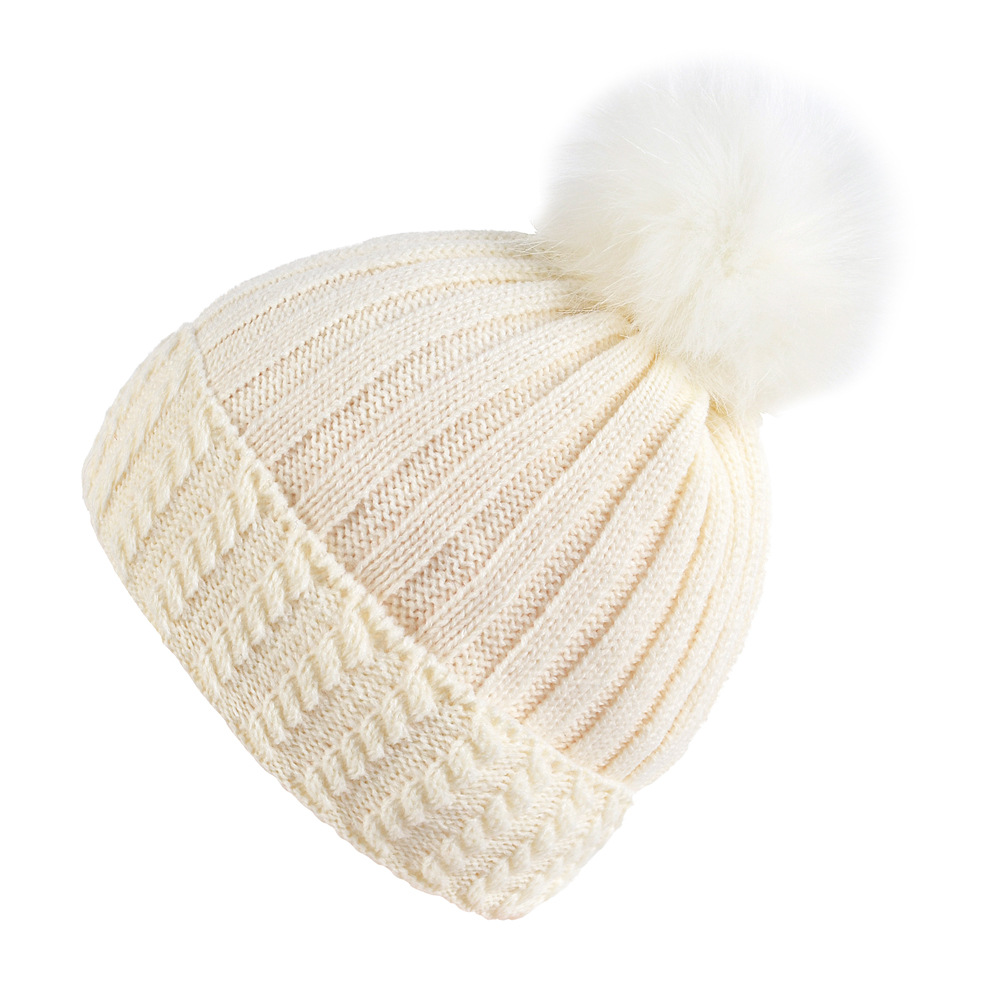 1c5c5e8c Women warm winter hat Cute Fur Pom Pop knitted beanie hats female cotton  flexible big bone
