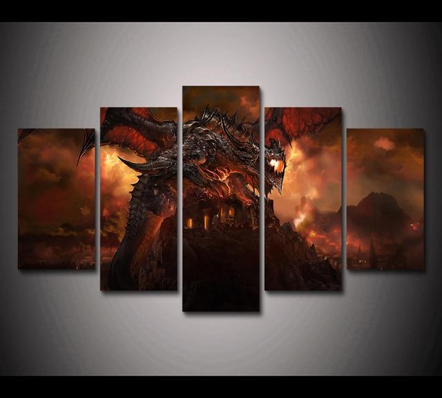 Aliexpress.com : Buy HD Print 5pcs Deathwing Dragon Fire Sky World ...