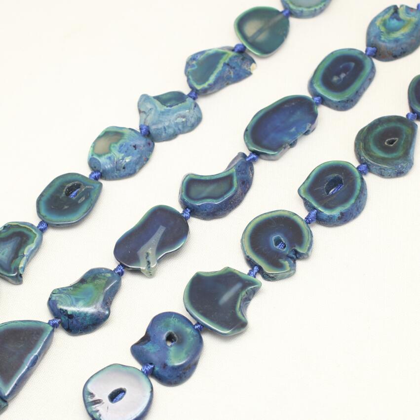 Полный stran темно-синий купля камни, плиты свободные шарики, полированный Freeform Дракон вен купля Slice Бусы Ювелирные, 25-30 мм
