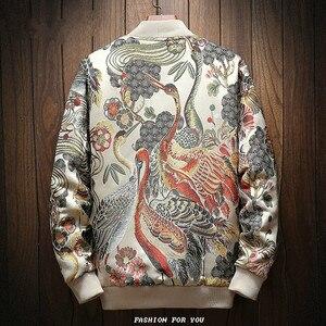 Image 2 - Японская куртка с вышивкой Для мужчин 2019 Весна футболки в стиле «хип хоп», уличная Курточка бомбер Для Мужчинs одежда куртка Homme