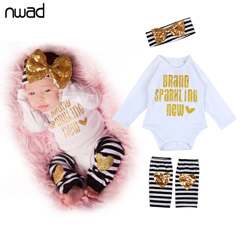 2017 Fashion Baby Clothes Set Sequin Clothing Suit For Newborn Baby Girls Long Sleeve Bodysuits +Leg Warmer +Bow Headband FF156