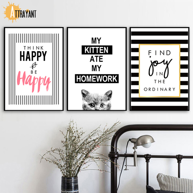 Cartoon Black White Kitten Cat Quotes Wall Art Canvas Painting Nordic Posters And Prints Wall Pictures For Living Room Decor