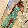 Apple Зеленый 2 В 1 Пром Платья Длинные Партия Dress Холтер Шифон Складки Молния Назад Длина Пола Вечернее Платье