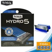 8 lames/lot 2019 Original Schick véritable Hydro 5 lames de rasoir nouveau paquet meilleur remplacement de rasage pour homme remplacement