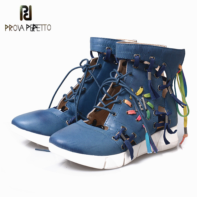 Prova Perfetto 2018 Fashion Trend Mixed Color Woman Sneaker Real Leather Hollow Out Round Toe Wedge Lace-up Short Casual Boots korean fashion trend round printed hollow wooden earrings