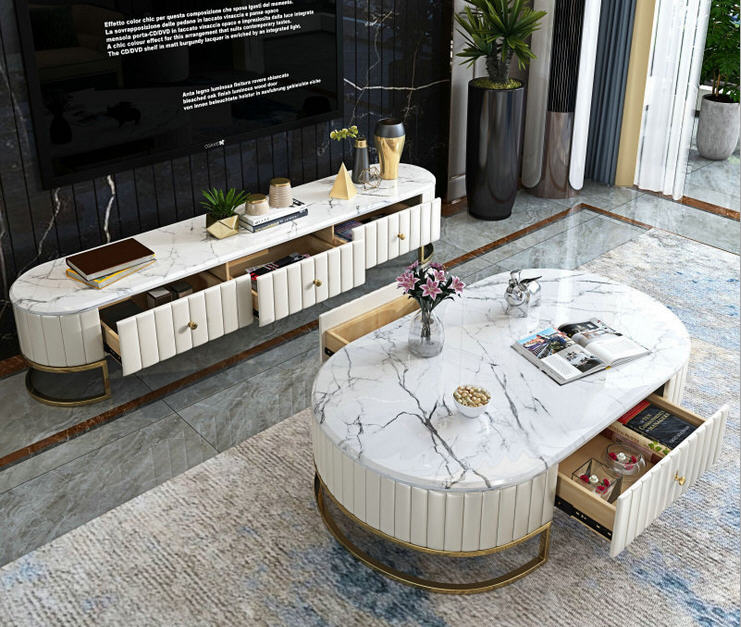 Tea Table Bluek/white Living Room TV Monitor Stand Mueble Marble Leather Oval Edge Cabinet +tv Stand Table+Coffee Centro Table