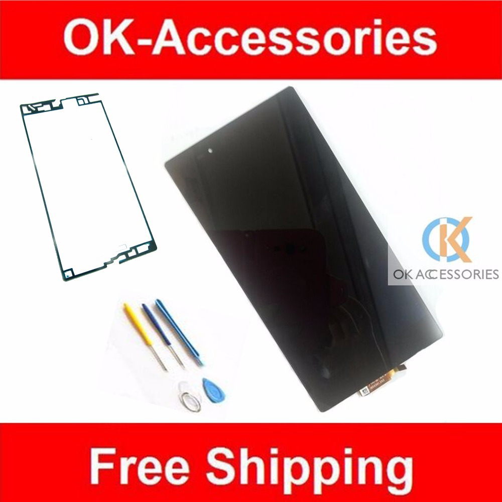 ФОТО Black For Sony Xperia Z Ultra XL39h XL39 C6802 C6806 C6843 LCD Display+Touch Screen+Adhesive Tape+ Tools 1PC/Lot