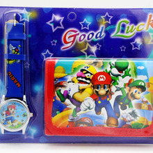Super Mario kids Sets watch and wallet purse wrist quartz Ch