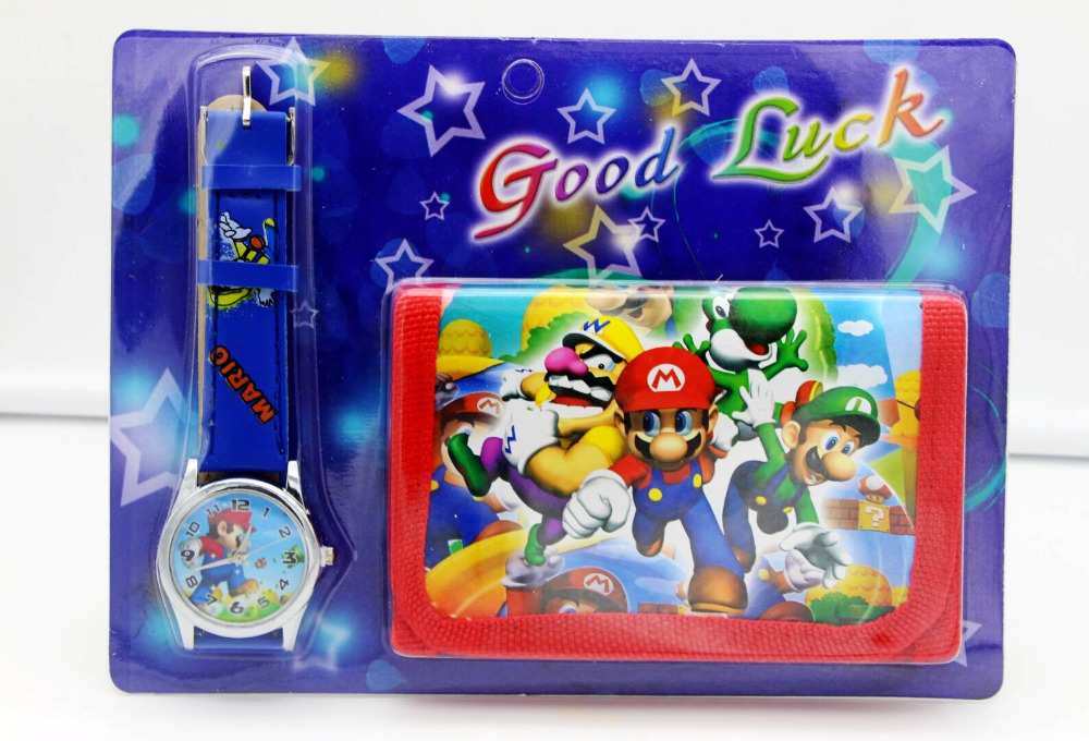 Super Mario Kids Sets Watch And Wallet Purse Wrist Quartz Christmas Children Gift Cartoon Watches Students Watches