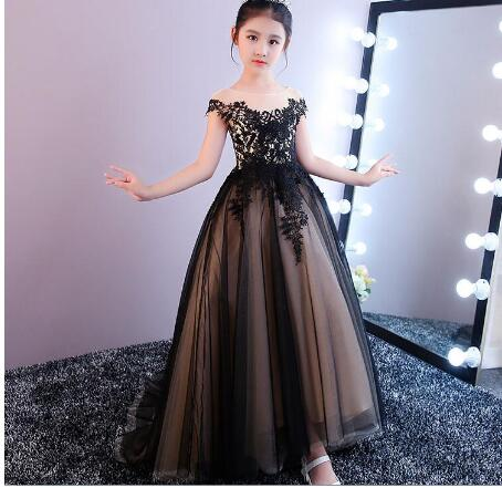 New Girls Dresses Lace Appliques Court Train Flower Girl Dresses for Wedding Vestidos Custom Made Any Size ow amelie lacroix widowmaker cosplay costume custom made any size