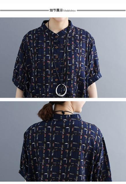 Ladys Fashion Plus Size Cotton&Linen Big pocket Jumper Plaid Casual Dress Summer Lagenlook Short Sleeve Checkered Tunic Dress 3
