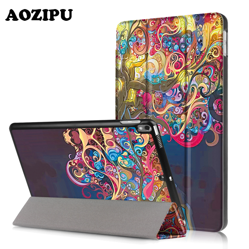 For iPad Pro 10.5 2017 New,AOZIPU Fashion Print New Case PU Leather+Plastic Shell Light Weight Protective Stand Cover high tech and fashion electric product shell plastic mold