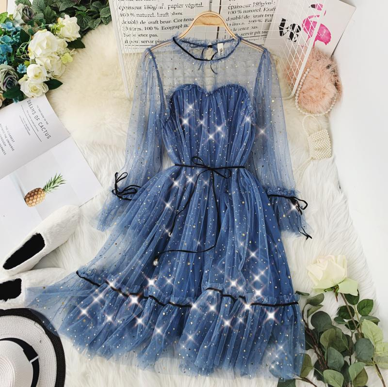 HISUMA spring autumn new women Star sequins gauze flare sleeve lace-up Princess dress female elegant o-neck mesh puff dresses 43