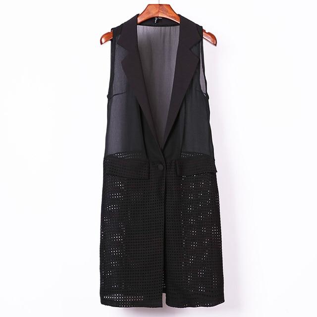 2016 New Fashion Long Vest Woman Sleeveless Blazer Lapel Collar Chiffon Patchwork Casual Plus Size Long Waistcoat veste femme