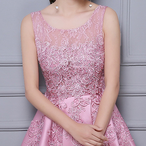 Image 4 - DongCMY Vestido de graduación asimétrico, Vestido de satén de encaje, Vestido Formal elegante para fiesta