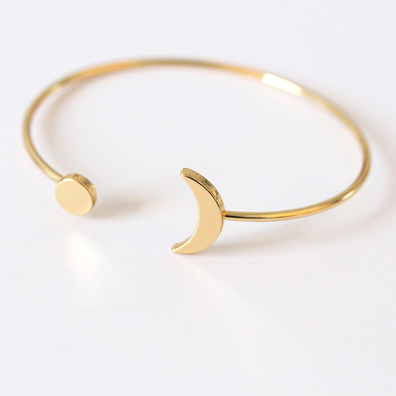 Boho Bangle Round Moon Gold Color Alloy Bracelet Women Charm Open Bangle Party Wedding Jewelry Accessories Adjustable in Charm Bracelets from Jewelry Accessories