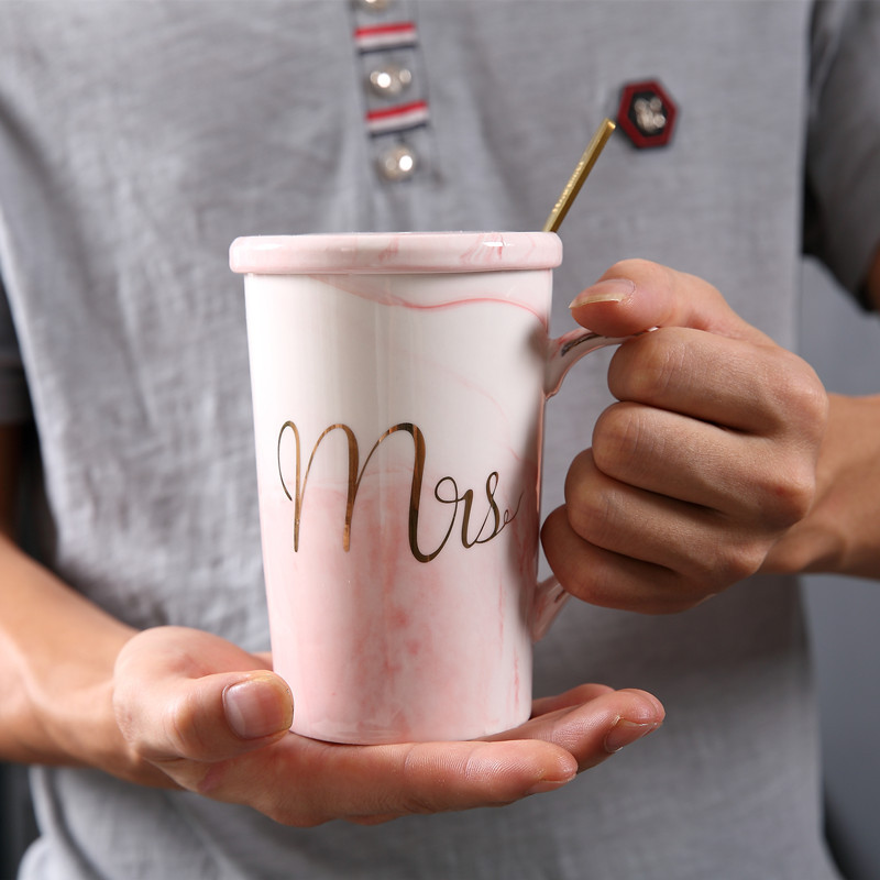 Image 3 - JOUDOO Luxury Marble Pattern Ceramic Mugs Gold Plating MRS MR Couple Lover's Gift Morning Mug Coffee Breakfast Creative Cup 35-in Mugs from Home & Garden