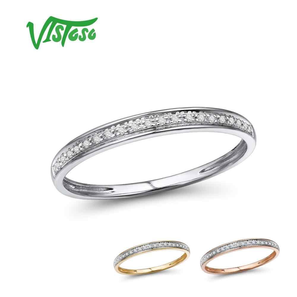 VISTOSO ของแท้ 14 K สีขาว/สีเหลือง/Rose Gold แหวนสำหรับเลดี้เงาเพชรครบรอบสไตล์นิรันดร์เครื่องประดับ Fine